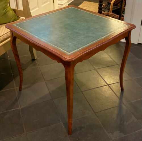 VINTAGE Barnard & Simonds Leather Top Wood Game Table - Rochester, NY