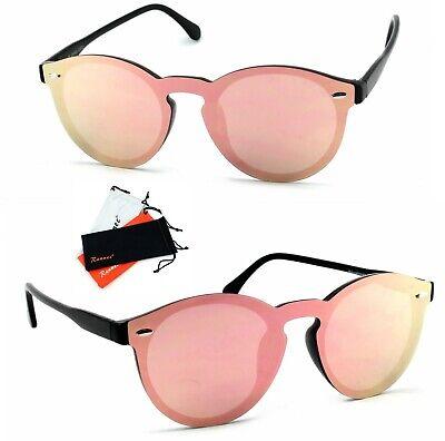 Panto Sonnenbrille Rund Lennon Verspiegelt Damen schwarz Rosa Rose Gold B122
