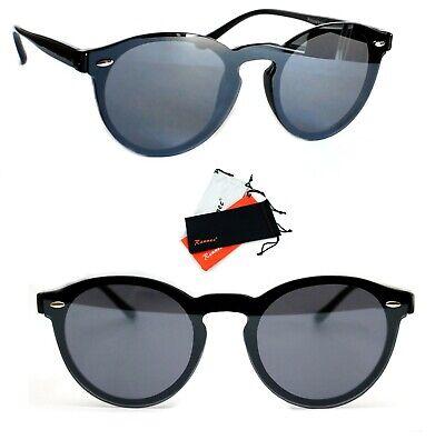 Panto Sonnenbrille Rund Lennon Verspiegelt Damen Herren schwarz Rauch B122