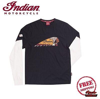 GENUINE INDIAN MOTORCYCLE BRAND HEADDRESS 2 IN 1 LONG SLEEVE T-SHIRT TEE BK / WH Bike Long Sleeve Tee