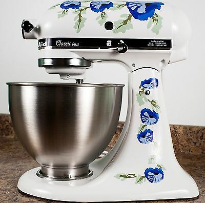 Blue Poppy Flowers Watercolor Kitchenaid Mixer Mixing Machine Decal Art Wrap
