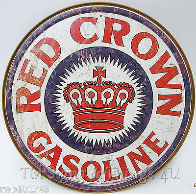 Red Crown Gasoline ROUND TIN SIGN vtg style metal garage pump wall decor DS#1899
