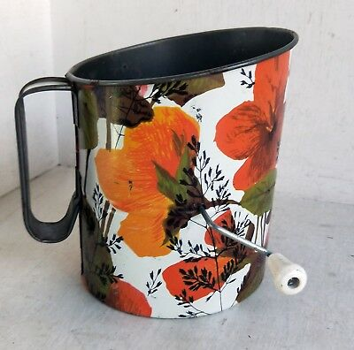 Vintage / Retro Tin Rotary Flour Sifter, Orange Floral Design, Willow?? (8295) Tin Flour Sifter