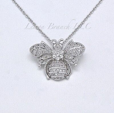 HONEY BEE NECKLACE  - Bumblebee Charm Pendant Jewelry White CZ's Free Shipping Charm Pendant Love Jewelry