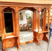 Huge hand carved vintage wall mirror and shelf. Cobargo Bega Valley Preview