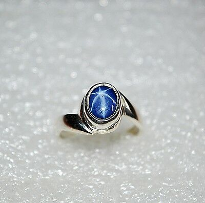 (EBAY CHRISTMAS SALE NATURAL STAR SAPPHIRE STONE 925 STERLING SILVER RING 7.5
