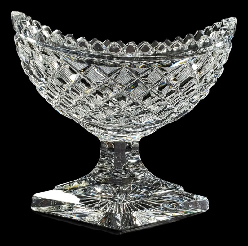 Georgian Period Anglo Irish Cut Crystal Glass Footed Boat Shaped Fruit Bowl