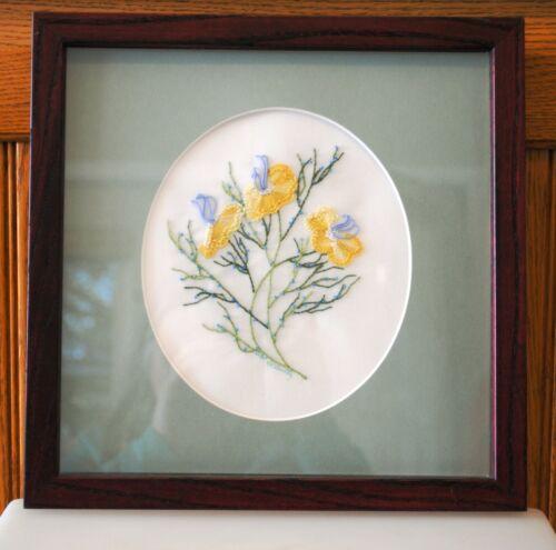 Finished Brazilian Needle Art Flowers Floral Pansy Matte Framed Plexi