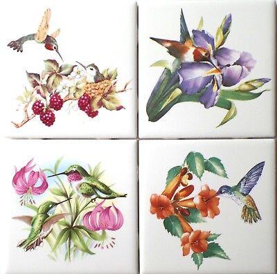 "Hummingbird Bird set of 4 Ceramic Tiles 4.25"" x 4.25"" Kiln Fired Decor"