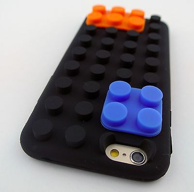 BLACK LEGO TOY BLOCKS SOFT SILICONE RUBBER SKIN CASE COVER APPLE IPHONE 6s PLUS