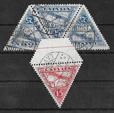 LATVIA 1931 Used Airmail Set of 2 Perf 10 3/4 Michel #178B-179B CV €100+ VF