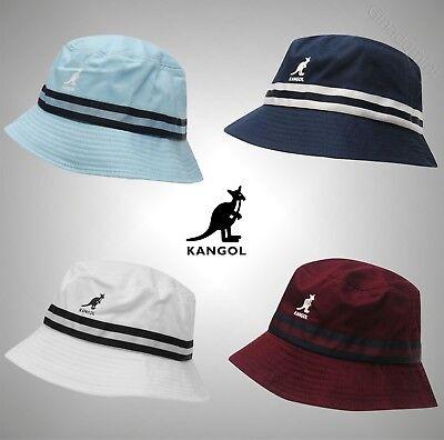 Mens Kangol Logo Stripe Bucket Hat Cotton Headwear Sizes S M L XL Kangol Stripe