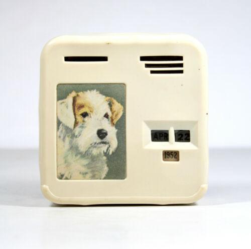 Vintage 1952 Sealyham TERRIER STILL BANK Wire Fox Dog Wheaton Bakelite? Piggy