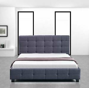(FREE SHIPPING) Linen Fabric Double Deluxe Bed ZKS-ASF-V63-802177