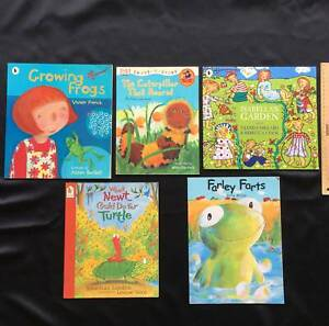 5 Minibeast and nature children's picture books. Caterpillar, Frogs