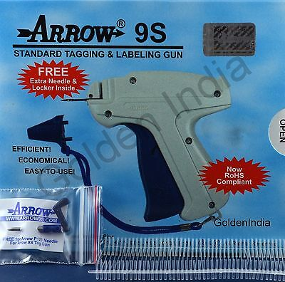 """Arrow 9S Price Tag Gun 1 Extra Needle 1000 1"""" Barbs Clothing Tagging Attacher"""