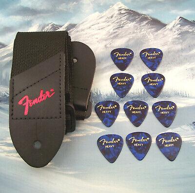 GUITAR STRAP ~ GENUINE FENDER ~ BLACK w/ RED LOGO + 10 HEAVY BLUE 351 PICKS