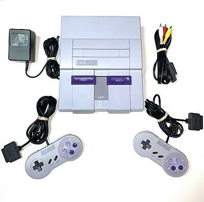 Super Nintendo SNES System Console With 2 OEM Controllers Authentic & Clean!!