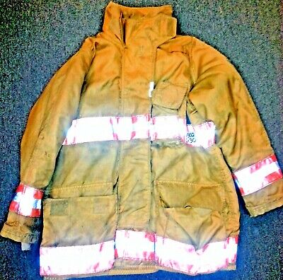 46x34 Firefighter Jacket Coat Bunker Turn Out Gear Gold Securitex J502