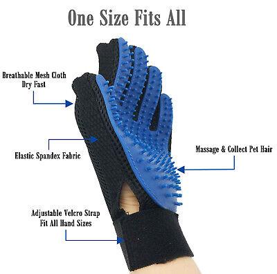 UPGRADED PAIR Pet Grooming Gloves Brush Dog Cat Fur Hair Removal Mitt Massage Brushes, Combs & Rakes