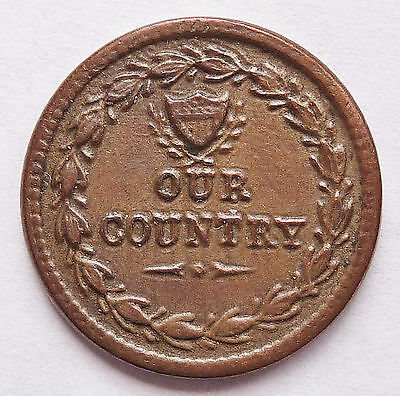nd CIVIL WAR PATRIOTIC TOKEN F# 231 / 352A ~ OUR COUNTRY / FLAGS DRUM ~ Rarity 1