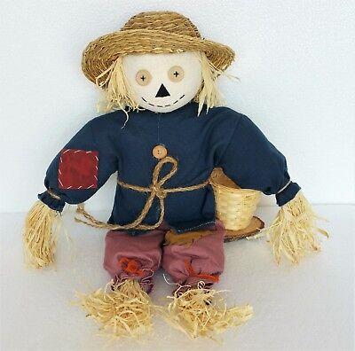 Vintage Halloween Stuffed Scarecrow Figure Figurine Sitting Wood Base Straw Hat