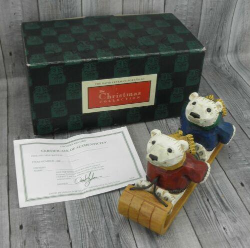 🔥David Frykman Figurine Away We Go! 2002 DF2110 Two Polar Bears On Sled🔥