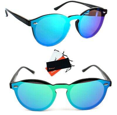 Panto Sonnenbrille Rund Lennon Verspiegelt Damen Herren schwarz grün blau B122
