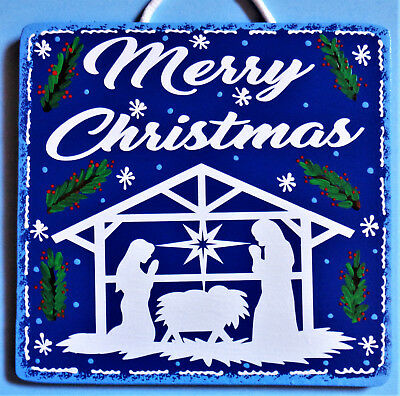 - NATIVITY Christmas SIGN Creche Wall Hanger Door Plaque Seasonal Holiday Seasonal