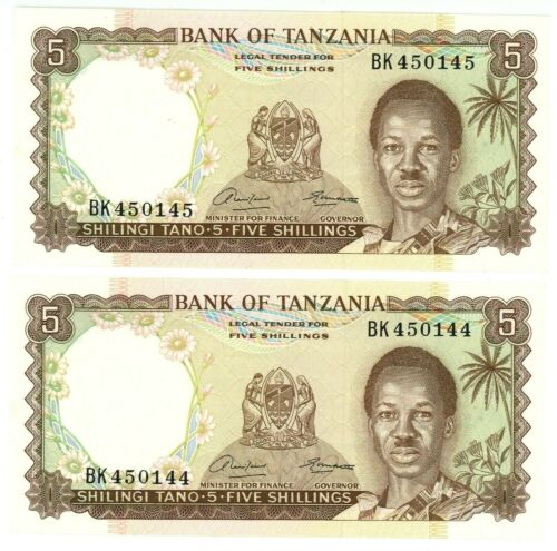 Tanzania ... P-1 ... 5 Shilings ... ND (1966) ... Gem *UNC* Consecutive Pair.