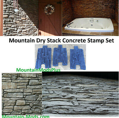 3 New Mountain Dry Stack Stone Vertical Wall Concrete Cement Plaster Stamps Mats