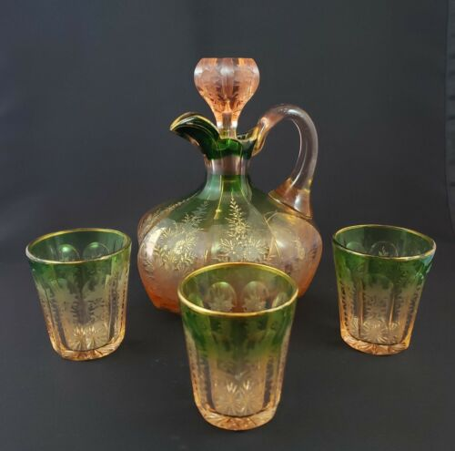 Wine or Cordial Decanter Set w/3 Tumblers Early 20th Cent. Bohemian