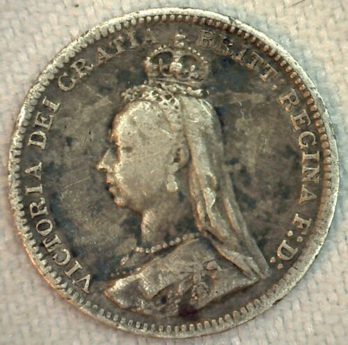 1891 Great Britain Silver 3 Pence Coin VF Very Fine Threepence UK Coin
