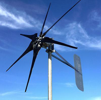 Low Wind Turbine Generator 1000 W/Watt SCORPION 48 DC 2/wire PMA 6 black blade