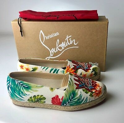 Christian Louboutin White Mom and Dad Flat Toile Hawaii Espadrilles Euro 36