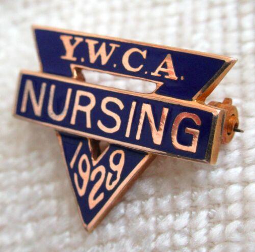 Antique 1929 YWCA 10k Gold Nursing Pin Christian Womens The Great Depression Vtg