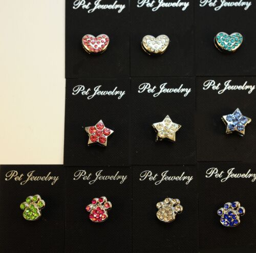 Wholesale lot 12 Rhinestone Charms & Letter Bling Accent Dog Cat Collar