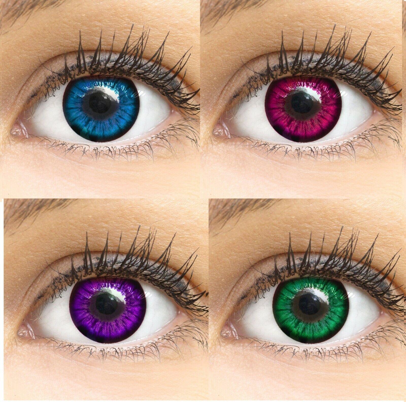 Farbige Kontaktlinsen ohne Stärke grün blau braun grau Monatslinsen farbig