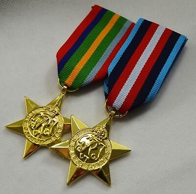 Pair of 24ct Gold WW2 Campaign Star Medals with Ribbons. Pacific and Arctic Star