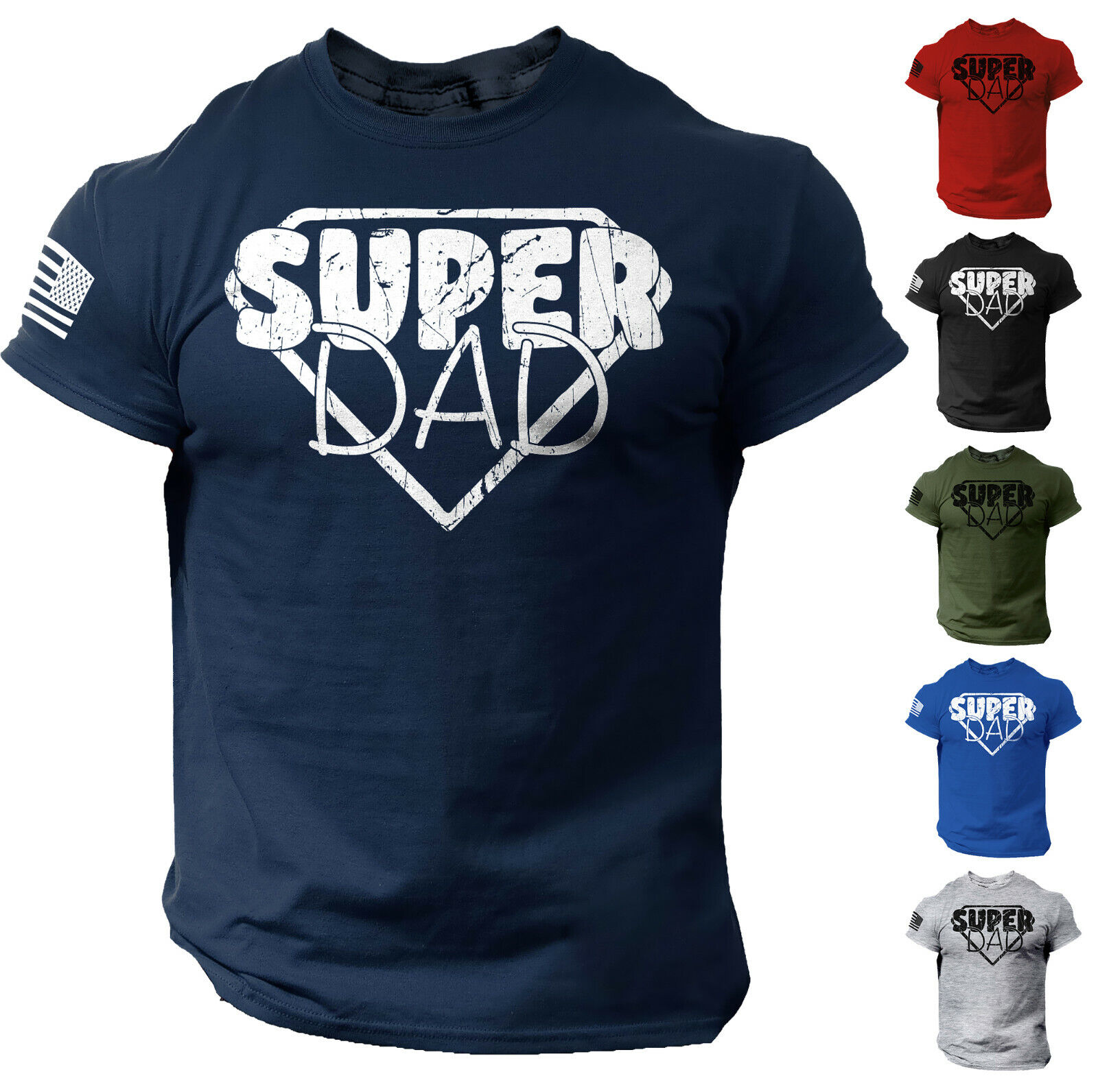Men's Fathers Day T shirt Funny Dad Gift Super Dad Tee