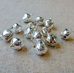 50 pcs - 12 mm silver jingle bells Charm Christmas Pendant