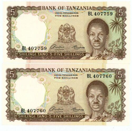 Tanzania ... P-1 ... 5 Shilings ... ND (1966) ... Choice *UNC* Consecutive notes