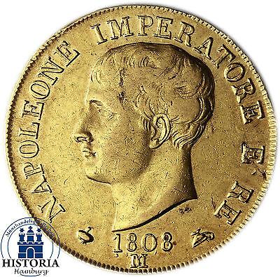 Italien 40 Lire Gold 1808 (ss) Goldmünze Königreich Napoleon