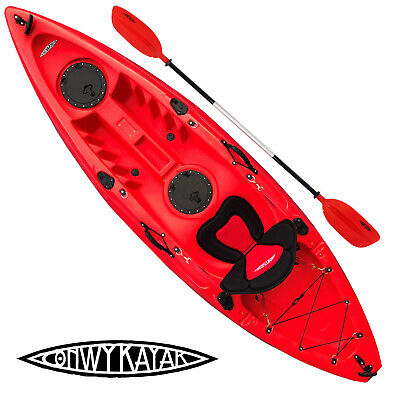 CONWY KAYAK SIT ON TOP FISHING SEA RIVER KAYAKS DELUXE SEAT & PADDLE SET RED