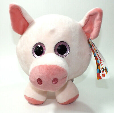 Pink Pig Stuffed Animal Plush Paradise Zoo Farm Animal Big Eyes Roly Poly Toy