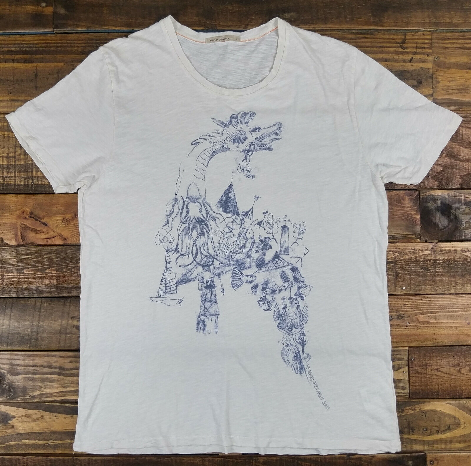 NUDIE JEANS Dragon Graphic Short Sleeve Ivory Pape