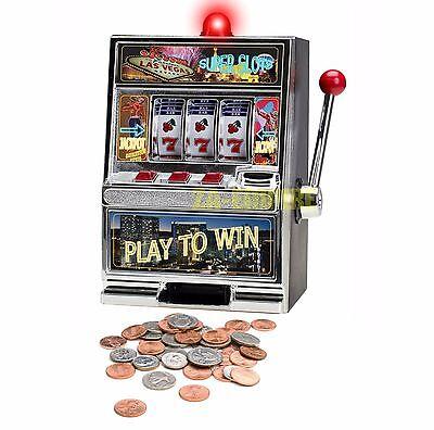 "12.5"" Jumbo Slot Machine Las Vegas Style Casino Coin Bank With Winning Light New"