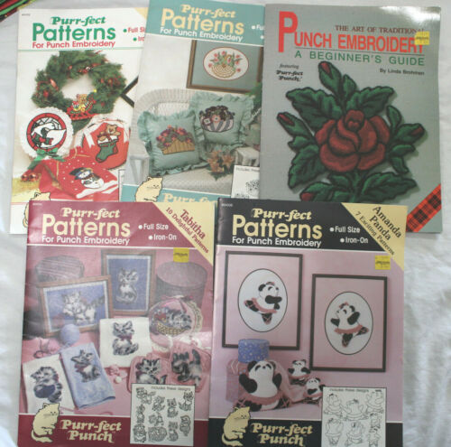 Mixed Lot 5 Punch Embroidery Booklets Kitten Floral Baskets Christmas Panda Bear