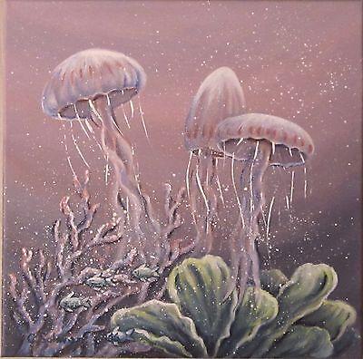 Acrylmalerei Christiane Schwarz;  TANZ DER QUALLEN ca. 40cmx40cm  Kunst Bild
