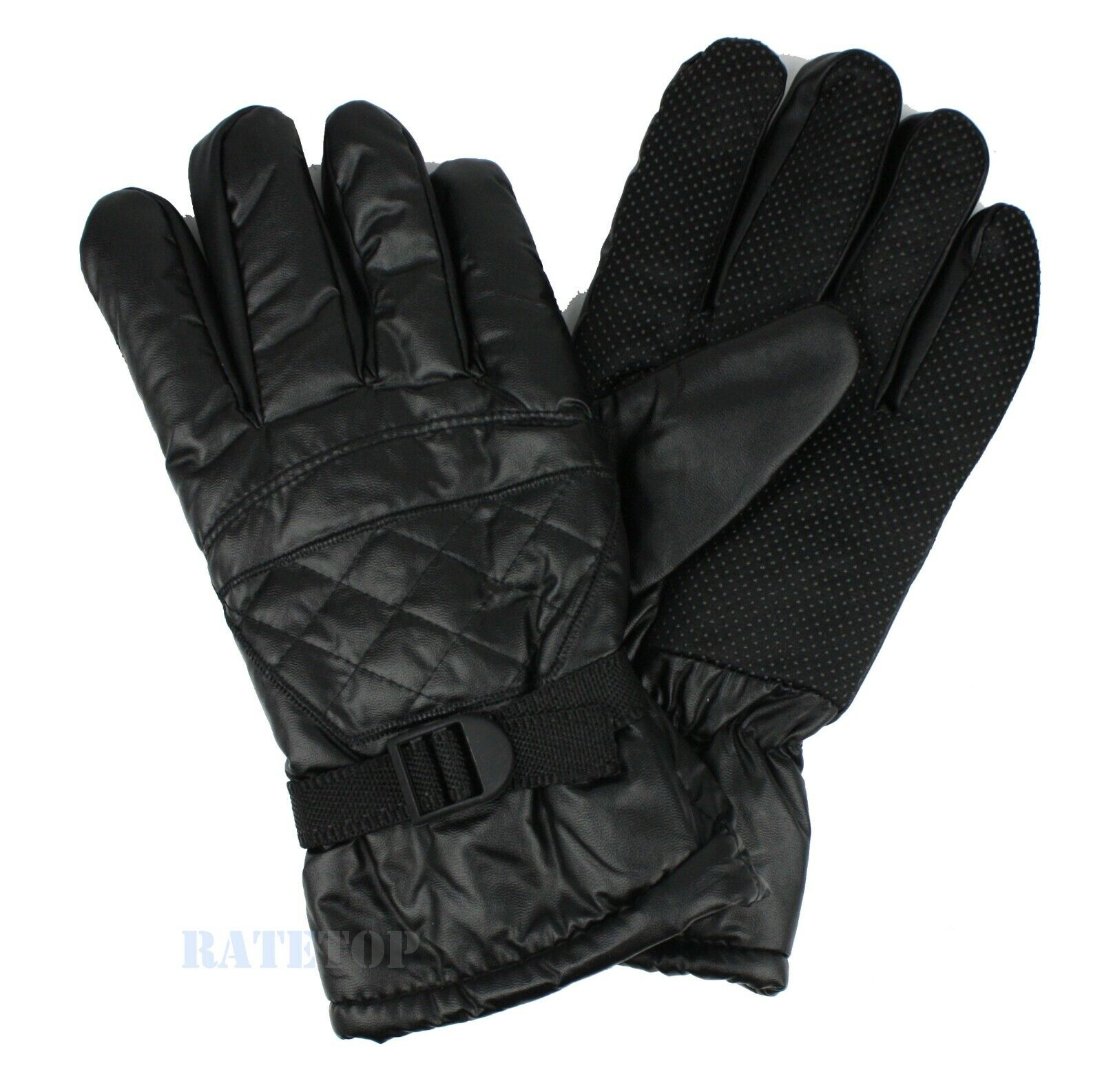 Mens Winter Thermal Synthetic Leather Fleece Lined Waterproof Gloves Mitten Ski Clothing, Shoes & Accessories